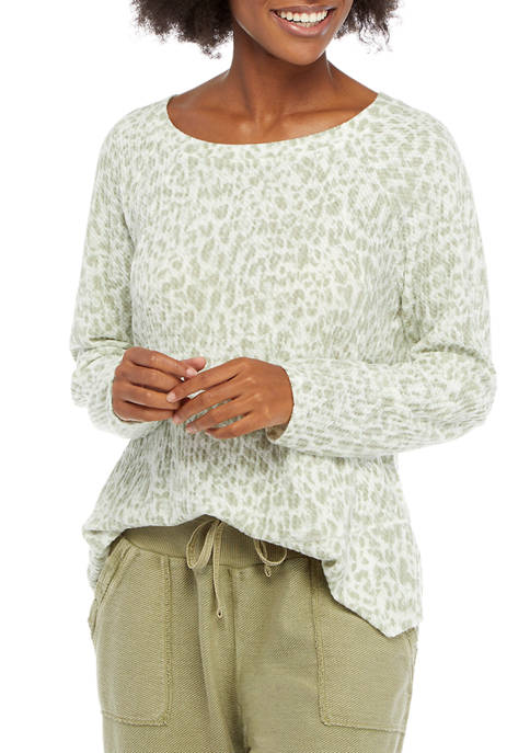 New Directions® Studio Womens Long Sleeve Waffle Knit