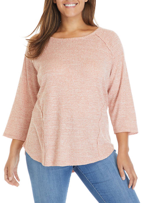 Plus Size 3/4 Sleeve Knit Top