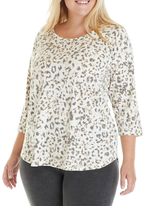 New Directions® Plus Size Animal Print Knit Top