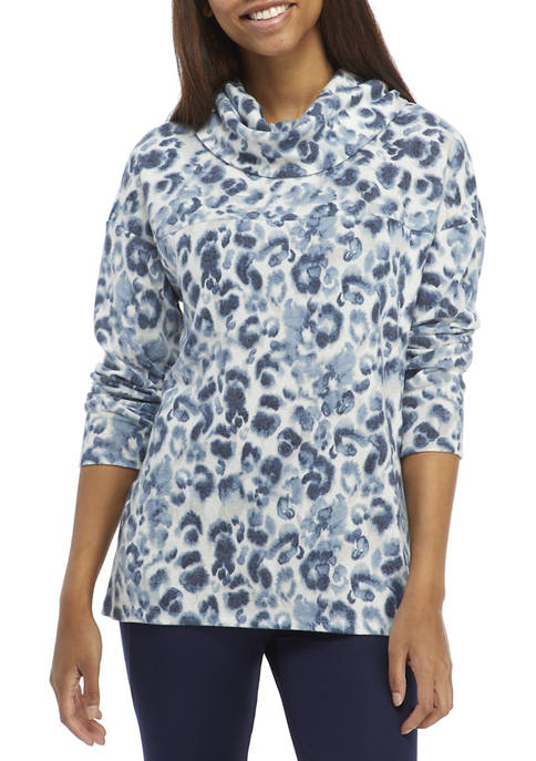 New Directions® Studio Womens Hacci Cowl Neck Printed