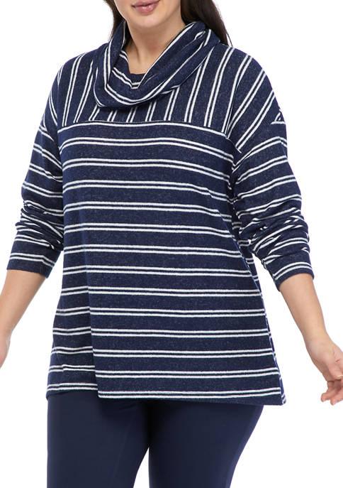 New Directions® Studio Plus Size Striped Cowl Neck