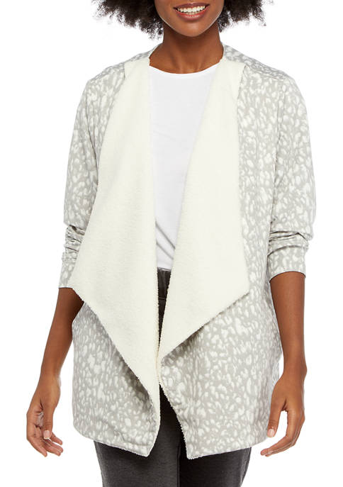 Studio Womens Open Front Printed Cardigan