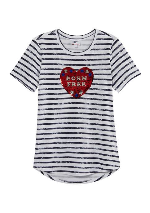 Liberty Park Womens Born Free Striped Flip Sequin
