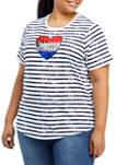 Plus Size Short Sleeve Knit Graphic T-Shirt