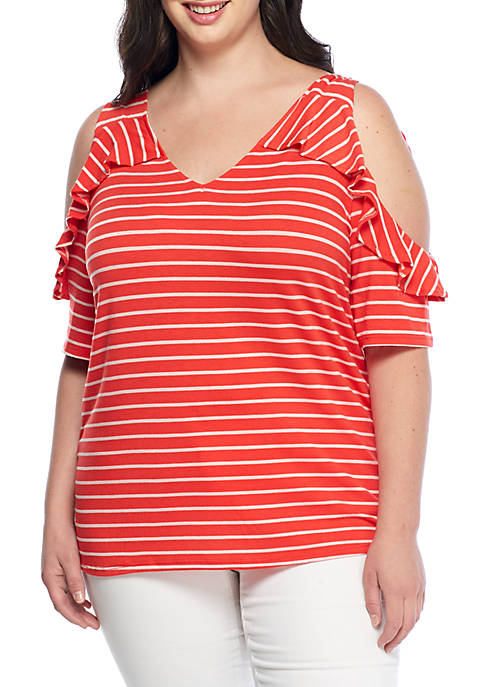New Directions® Plus Size Short Cold Shoulder Stripe