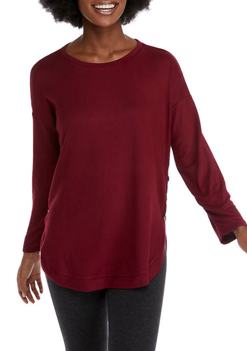 New Directions® Womens Long Sleeve Side Button T-Shirt