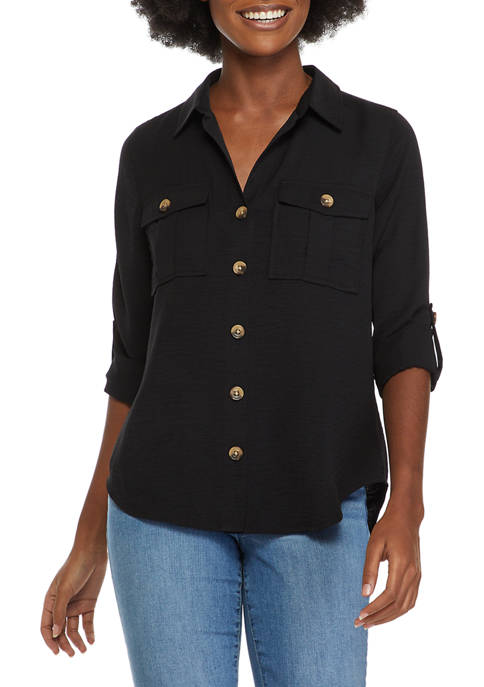 New Directions® Petite Roll Tab Sleeve Woven Top