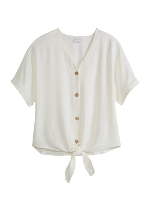 New Directions® Womens Short Sleeve Woven Top