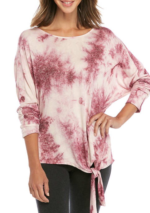 New Directions® Womens Tie Front Tie Dye Shirt