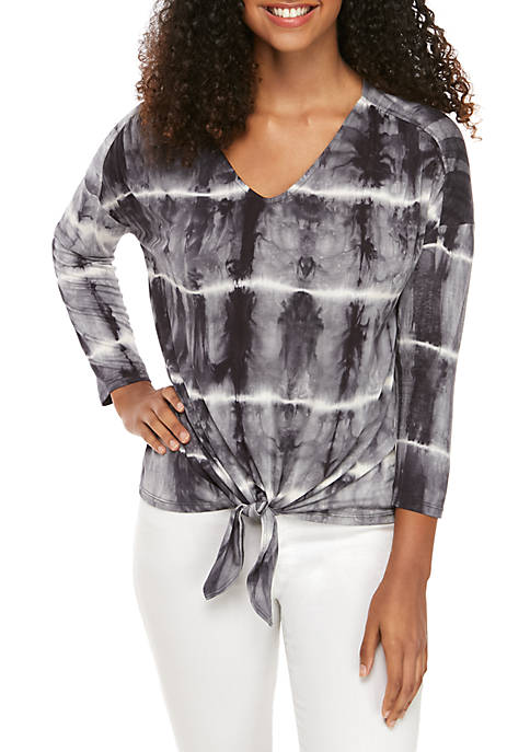 New Directions® Tie Dye Knot Front Top