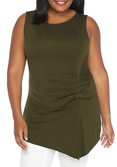 New Directions® Plus Size Sleeveless Tuckside Asymmetric Tank