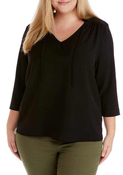 Plus Size Long Sleeve Peasant Top