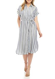 New Directions® Short Sleeve Shirt Dress