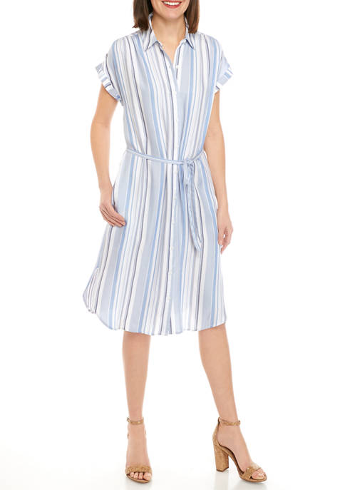 New Directions® Womens Short Sleeve Stripe Tie Front