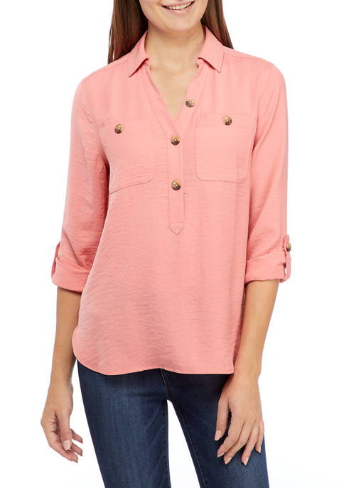 New Directions® Petite Airflow 2-Pocket Popover Top