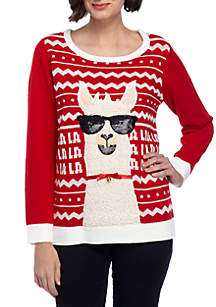 Long Sleeve Fa La La Llama Pullover Sweater