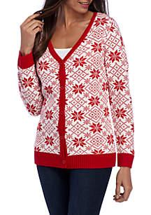 Long Sleeve Button-Front Snowflake Intarsia Cardigan