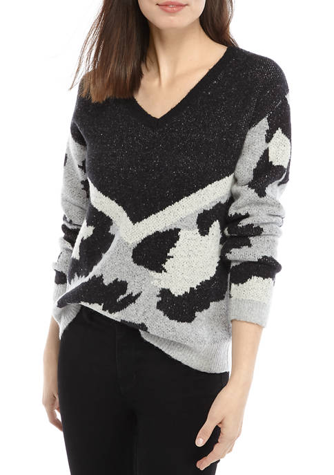 Womens Long Sleeve V Neck Animal Sweater