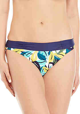 bb14f79d7f New Directions® Island Leaf Ruched Hipster Swim Bottoms ...