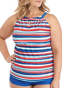 6d0a8a1492 Kim Rogers® Fireworks High Neck Swim Tankini · New Directions® Plus Size  Stripe High Neck Swim Dress