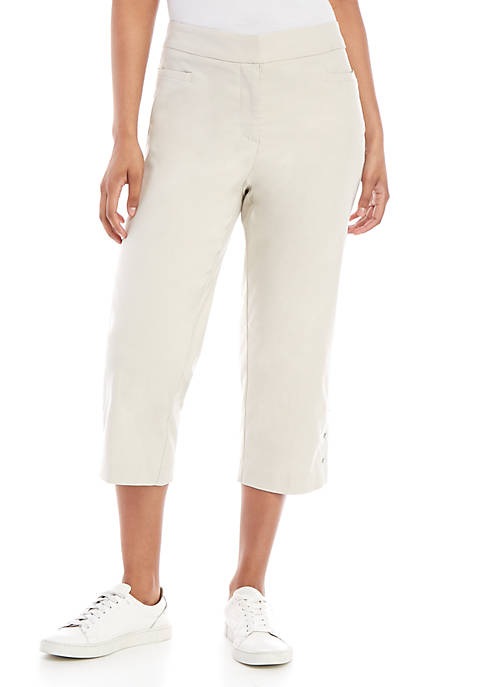 Kim Rogers® Luxe Fly Front Capris with Diamond