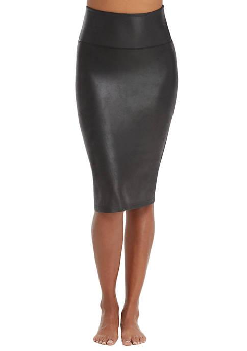 Womens Faux Leather Pencil Skirt