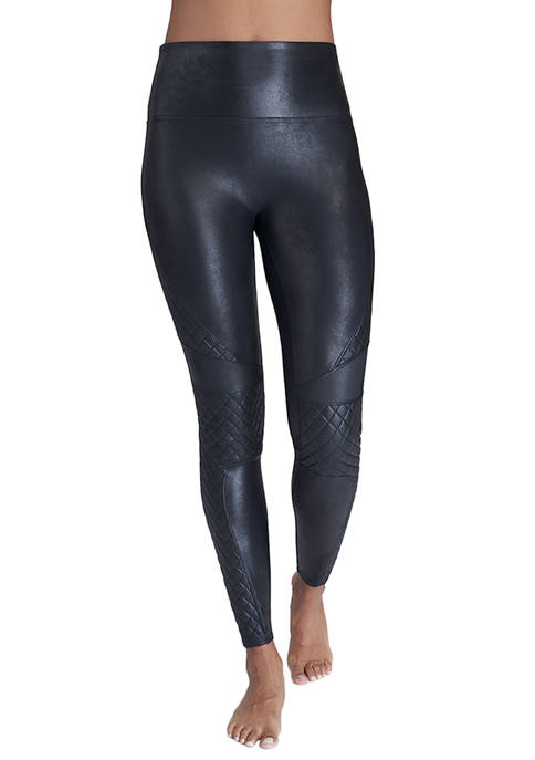 Womens Quilted Faux Leather Leggings