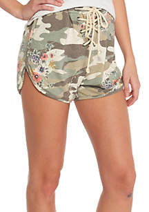 Camo Print Lace Up Shorts