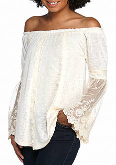 Living Doll Vertical Lace Lantern Sleeve Top