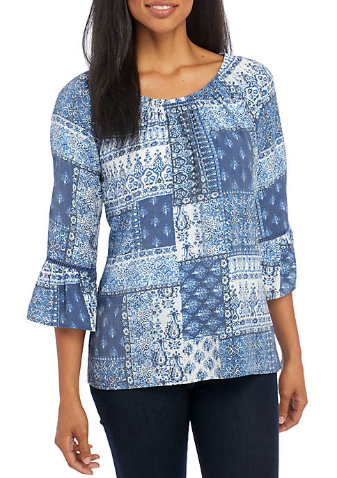 Kim Rogers® Patchwork Bell Sleeve Elastic Neck Blouse