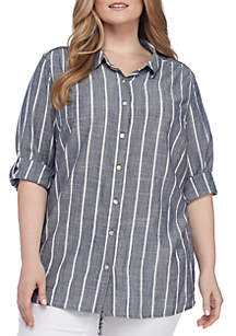Plus Size Boyfriend Stripe Collared Shirt