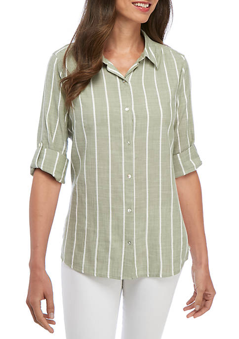 Kim Rogers® Button-Down Boyfriend Woven Shirt