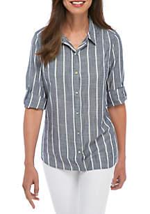 Button-Down Boyfriend Woven Shirt
