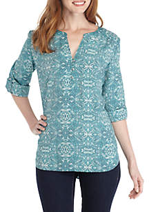 Medallion 3/4 Sleeve Liano Blouse