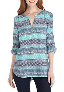 3/4 Sleeve Liano Stripe Woven Top