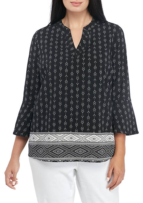 Kim Rogers® Plus Bell Sleeve Sophie Knit Border
