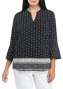 Plus Bell Sleeve Sophie Knit Border Print Blouse