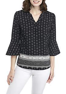 3/4 Bell Sleeve Sophie Border Print Shirt