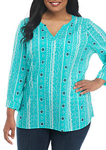 Plus Size Popover Rayon Stretch Top