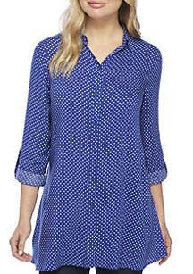 Roll-Tab Sleeve Dot Print Tunic