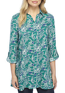 Roll-Tab Sleeve Printed Button Tunic