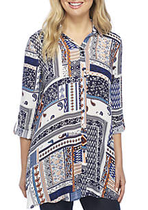 Roll-Tab Sleeve Patch Print Tunic