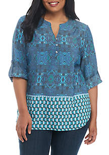 Plus Size Roll-Sleeve Liano Top
