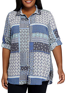Plus Size Patchwork Printed Button Front Top