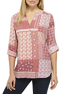 Patchwork Printed Three-Quarter Roll-Tab Sleeve Liano Top