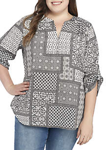 Plus Size 3/4 Sleeve Liano Print Blouse