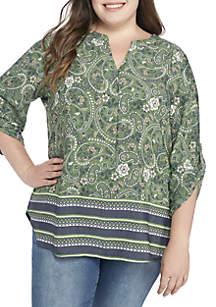Plus Size 3/4 Sleeve Liano Border Print Blouse