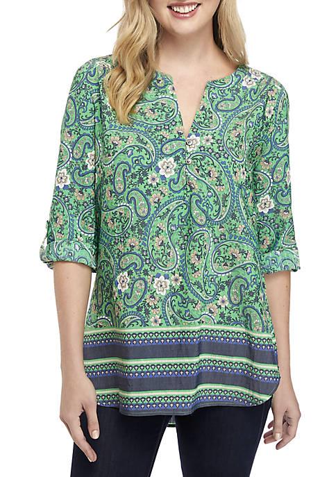 Kim Rogers® 3/4 Sleeve Club Verde Print Woven