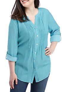 Kim Rogers® Plus Size Roll Sleeve Sundance Top