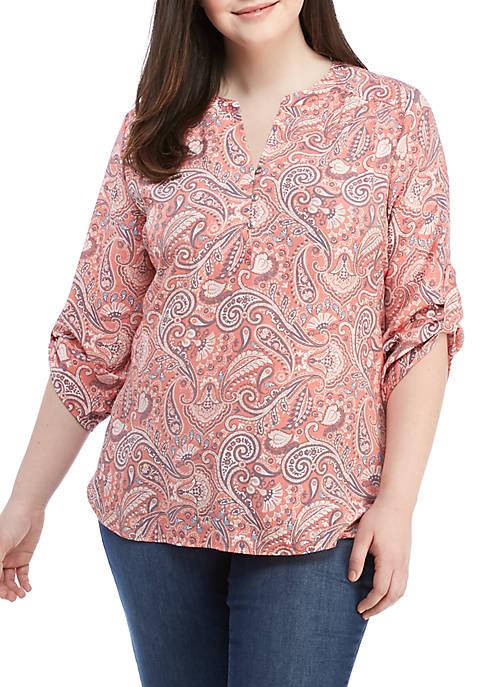 Kim Rogers® Plus Size 3/4 Roll-Tab Sleeve Woven